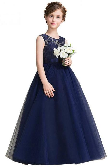 Navy Blue Lace Flower Girl Dresses 2018 Soft Tulle O-Neck Kids Evening Gowns Ball Gown Girl Prom Dresses Pageant Dresses