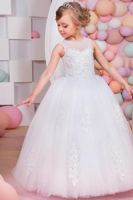2020 princess formal first communion dresses for girls sweetheart puffy corset ball gown girls dress 8 10 for wedding party