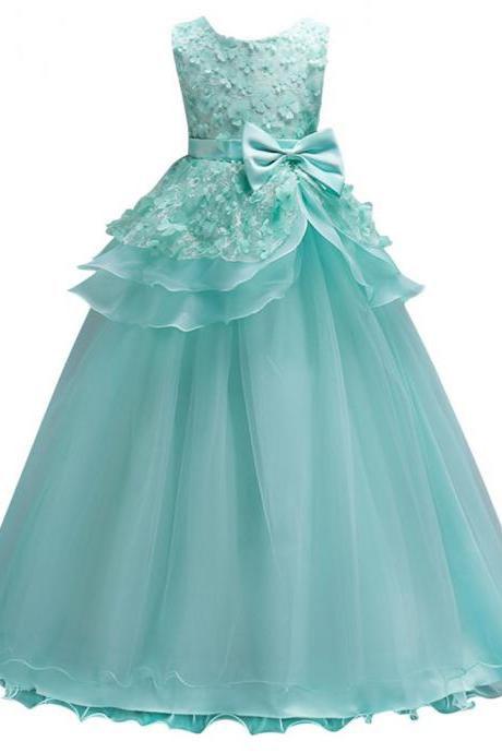 2020 Beautiful Mint Green Flower Girl Dresses Lace Flower Bow Kids Evening Gowns Ball Gown Pageant Dresses For Girls Glitz
