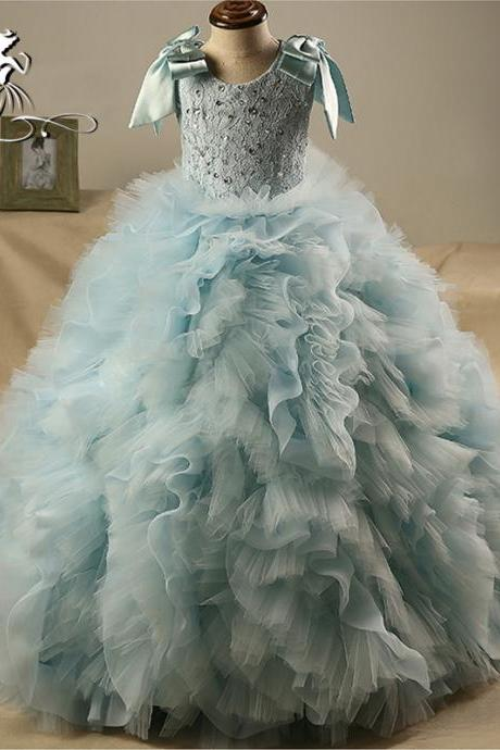2020 New Blue Ball Gown Flower Girl Dresses Vintage O-Neck Lace Beaded Ruffles Tulle Girls Communion Dress Long Prom Gowns