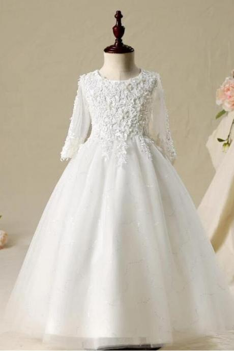 Long Sleeve A Line Flower Girl Dresses for Wedding First Communion Dresses Wedding Party Dress Runway Show Pageant Danceway
