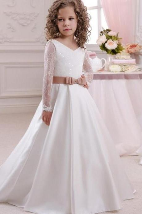 2020 Generous Lace Up Open V Back Appliques Bow Lace Tribute Silk First Communion Dresses Girls England Style Tulle Ball Gowns