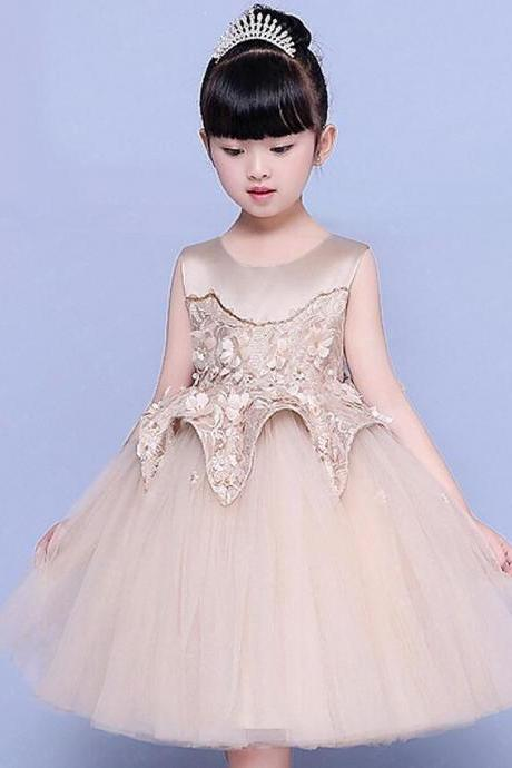 Real Pictures Yiaibridal Sleeveless Light Brown Puffy Tulle Vestido Daminha Flower Girl Dresses