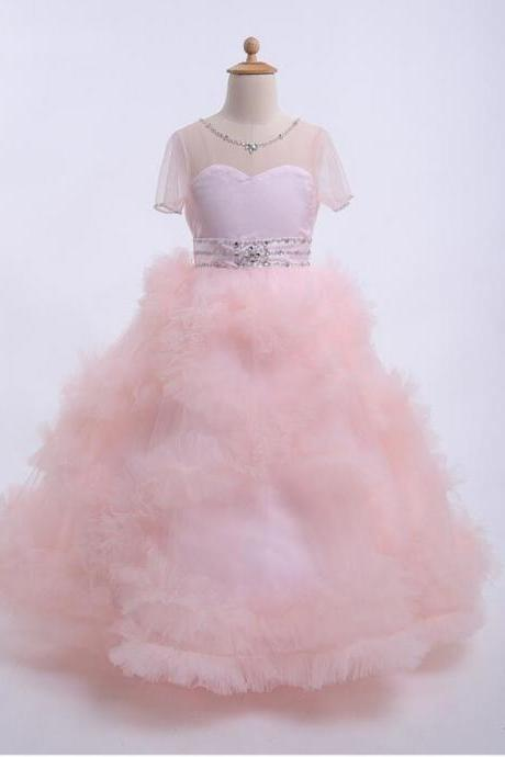 Dreamy Bridal Pink Ball Gown Flower Girl Dresses Fluffy Cloud Short Sleeves First Communion Dresses for Girls Custom Made