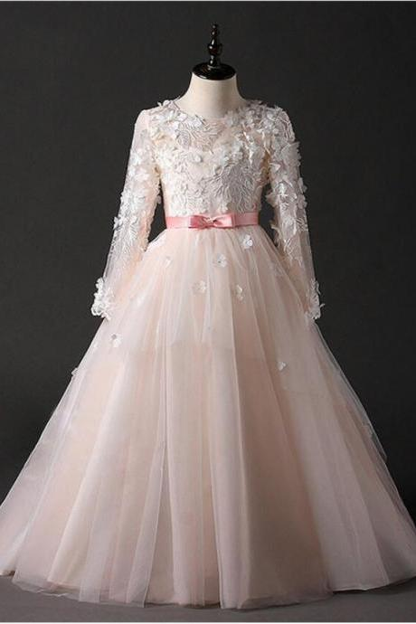 2020 New Princess Flower Girl Dresses For Weddings Pink Lace A Line Sash Bow Holy Communion Dresses For Girls Glitz For Pageant