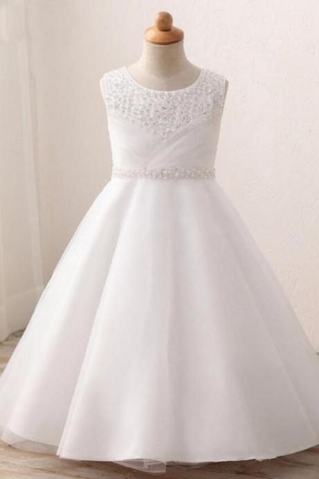 Real Image Flower Girl Dress With Long Train For Party Sequined Beaded Pearl A-Line Dresses Princess Gowns