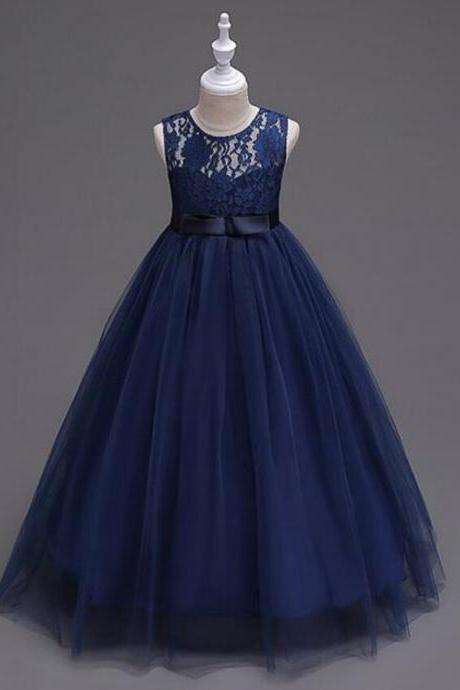 Flower Princess Girl Dress Lace up Prom Party Birthday Baby floor length purple navy white Kids Dress Children Elegant