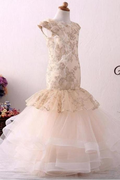 2020 Real Pics Lace Appliques Mermaid Flower Girl Dresses Ball Gown Kids Wedding Pageant Party Gowns Custom Made Floor Length