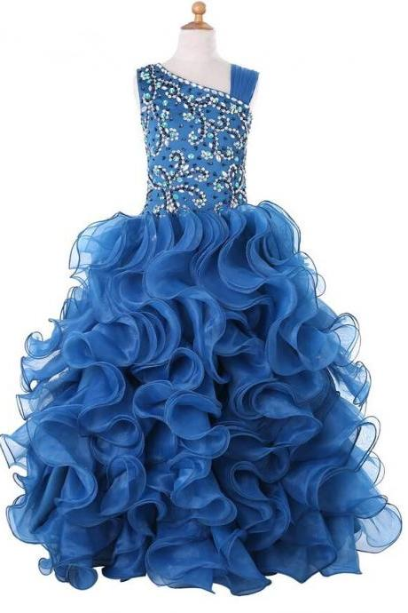 2018 Girls Pageant Dresses For Weddings Ball Gown Organza Ruffles Beaded Crystals Flower Girl Dresses For Little Girls