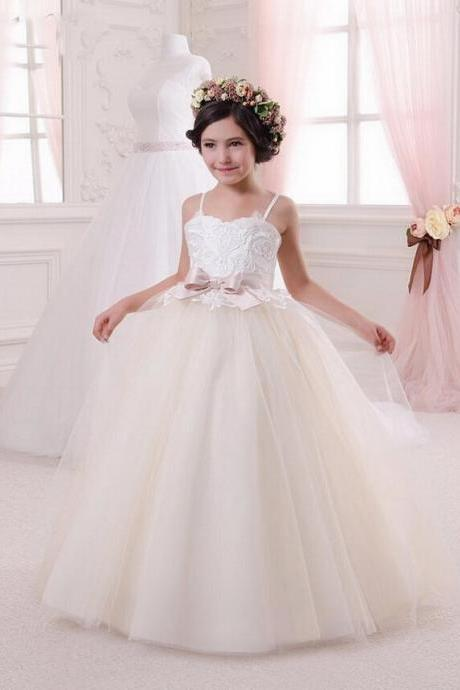 Lace Appliques Sleeveless Ruffles Holy Communion Infant Girls Dresses Kids Beading Open Back Rosette Tulle Ball Gowns 0-14 Year