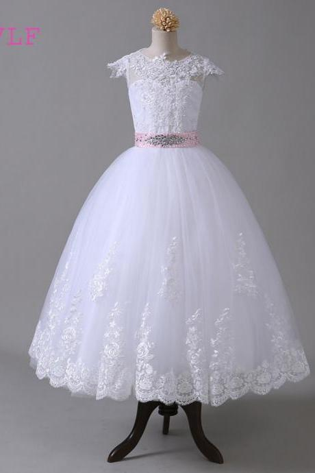 2018 Ball Gown Flower Girl Dresses For Weddings Cap Sleeves Bow Lace Beaded First Communion Dresses For Little Girls