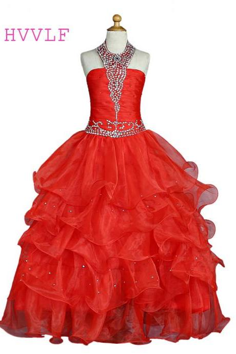 2020 Red Girls Pageant Dresses For Weddings Ball Gown Halter Organza Tiered Beaded Flower Girl Dresses For Little Girls