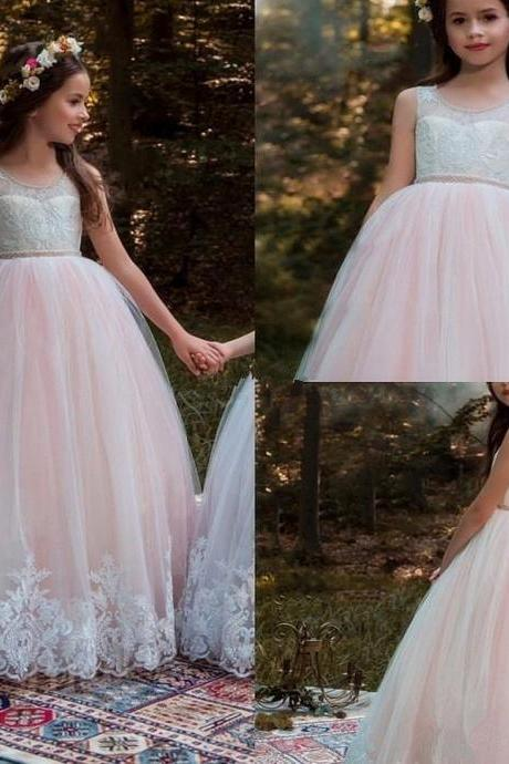 2020 Vintage Flower Girl Dresses For Weddings Blush Pink Custom Made Princess Tutu Sequined Appliqued Lace Bow Kids Pageant Gowns