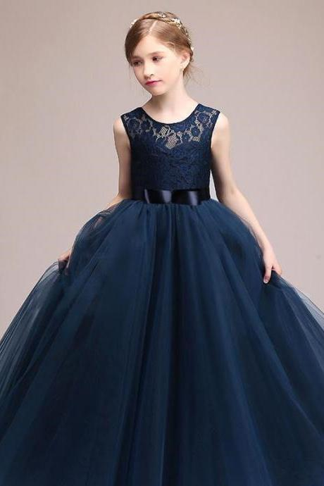 Cute Navy Blue Tulle A Line Sash Long Flower Girls' Dresses Crew Neck Sleeveless Lace Top Birthday Party Little Girl Dresses In Stock