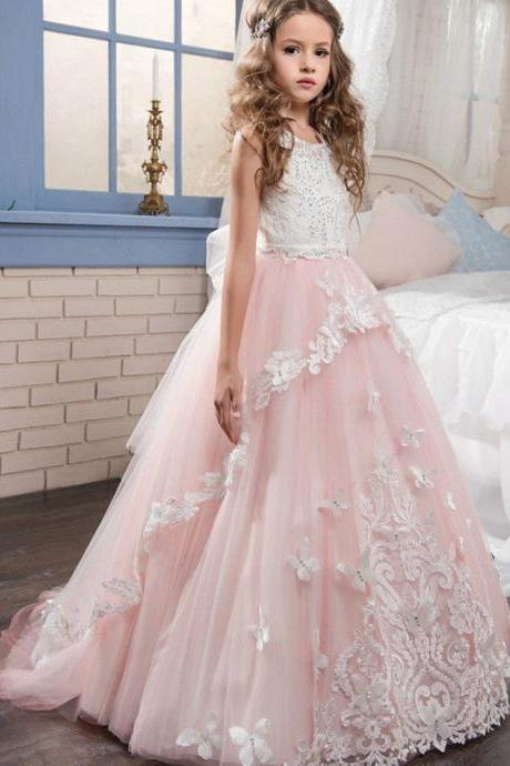 2020 Hot Long Sleeves Girls Pageant Dresses With Bow Knot Delicate Beaded Sequins Ball Gown Floor Length Girls Dresses Formal Wears