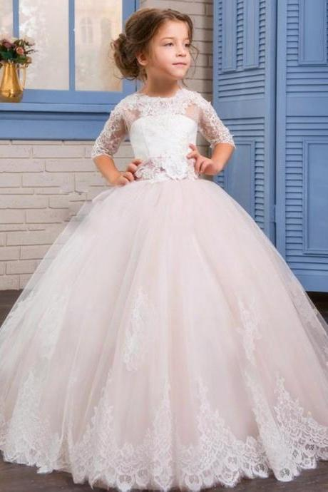 Communion Ball Gown Flower Girls Dresses For Weddings Tulle Little Kids Dresses Formal Lace Christmas Pageant Gowns With Short Sleeves