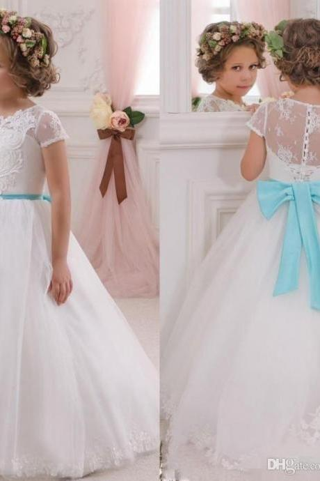 2020 Lovely White Flower Girls Dresses for Weddings with Turquoise Bow Sash Princess Ball Gown Lace Kids Wedding Dress