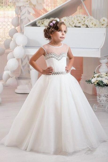 2020 Beautiful Mint Ivory Lace Tulle Flower Girl Dresses Birthday Wedding Party Holiday Bridesmaid Fancy Communion Dresses for Girls