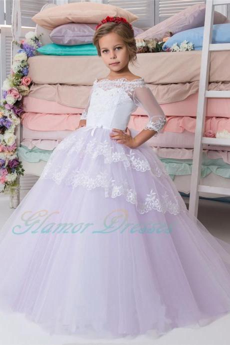 Vintage Long Sleeves Lace Flower Girl Dresses Jewel Neck Backless with Sash Mother Daughter Gowns Mini Me Party Dresses For Weddings