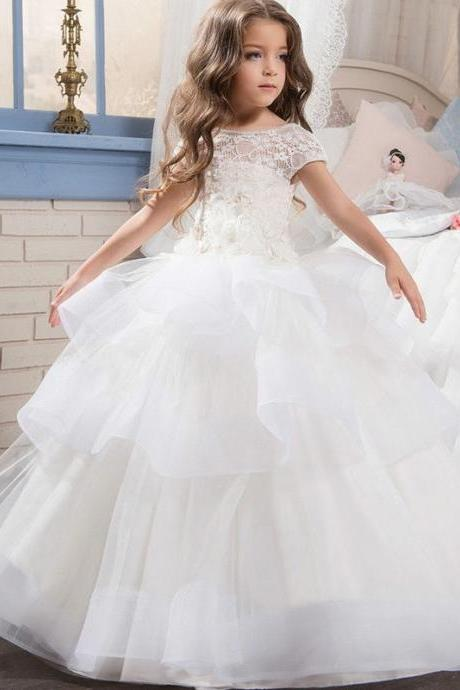 2020 Flower Girls Dresses For Weddings Lace Applique Short Sleeves Beaded Sash Hollow Back Tiered Ruffles Kids Birthday Girl Pageant Gowns