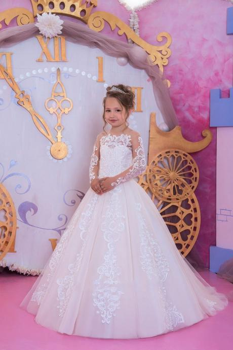 2020 Flower Girls Dresses Jewel Neck Lace Appliques Crystal Sashes Short Sleeves Party Princess Children Kids Party Birthday Gowns
