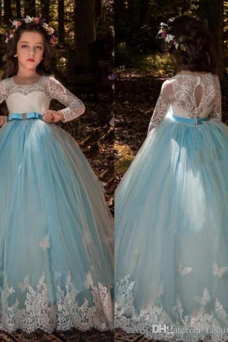 2020 Girls Pageant Dresses Butterfly Lace Long Sleeves Tulle Sash Crystal Light Blue Hollow Back Kids Flower Girls Dress Birthday Gowns