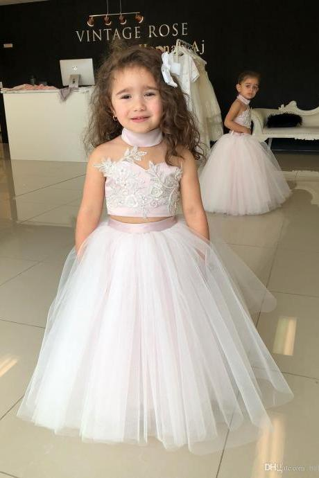 2018 Lovely Kids Two Pieces Flower Girl Dresses Princess A Line Halter Neck Backless Girls Toddler Formal Party Wear Gowns Birthday Pageant