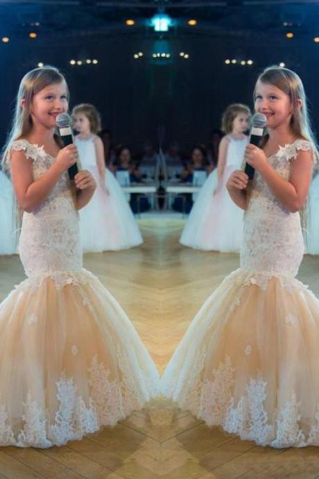 2018 Mermaid Girls Pageant Dress Princess Lace Tulle First Communion Dress Gown Kids Party Formal Wear Flower Girls Dresses for Wedding