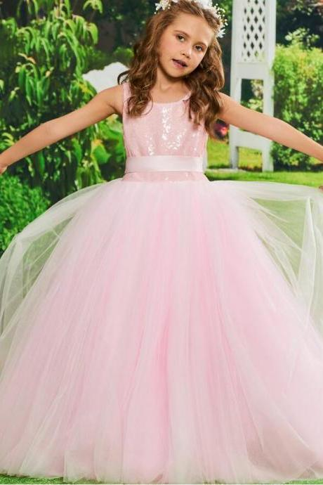 Pink Flower Girl Dress Ball Gown Sequins Birthday Party Floor Length Tulle Zipper Up Bowknot Flower Girl Dress Customize