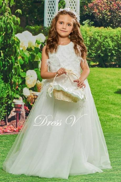 Flower Girl Dress Appqiues Ball Gown Beading Birthday Party Floor Length Zipper Up Lace Flower Girl Dress Customize