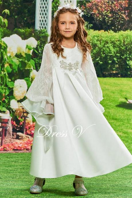 Flower Girl Dress A Line Beading Birthday Party Floor Length Long Sleeves Zipper Up Lace Flower Girl Dress Customize