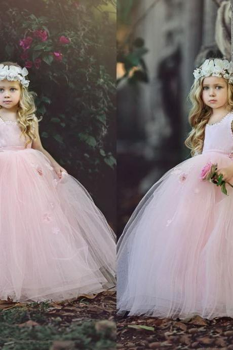 Puffy Tulle Floor Length Girls Pageant Gowns Custom Made New Blush Pink Ball Gown Flower Girls Dresses First Communion Dresses