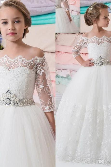 New Princess Flower Girls Dresses Bateau Neck Beaded Sash Lace Half Sleeves Pageant Gowns Long Floor Tulle Communion Dress