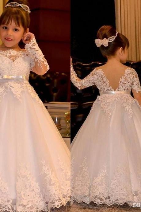 Princess Long Sleeve Vintage Flower Girl Dresses Sheer Neck Lace Appliques Floor Length Flowergirl Dress Pageant Gowns with Bow Train
