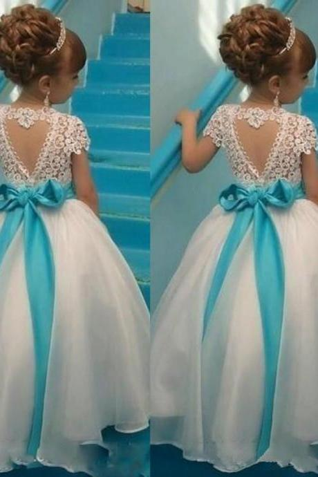 Lovely Flower Girls' Dresses Crew Neck Lace Top Capped Organza Full Length Kids Formal Gowns with Custom Made Sash Pageant Dress