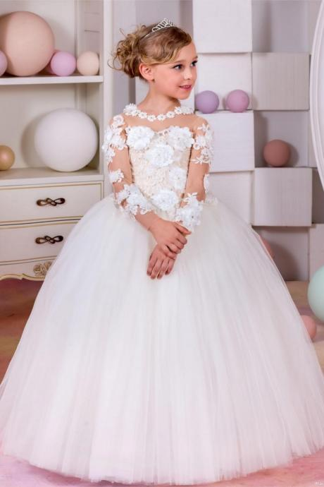 Princess Flower Girls Dresses for Weddings Little Kids Sheer Jewel Neck Sleeveless Beaded Lace Appliques Floor Length Corset Gowns