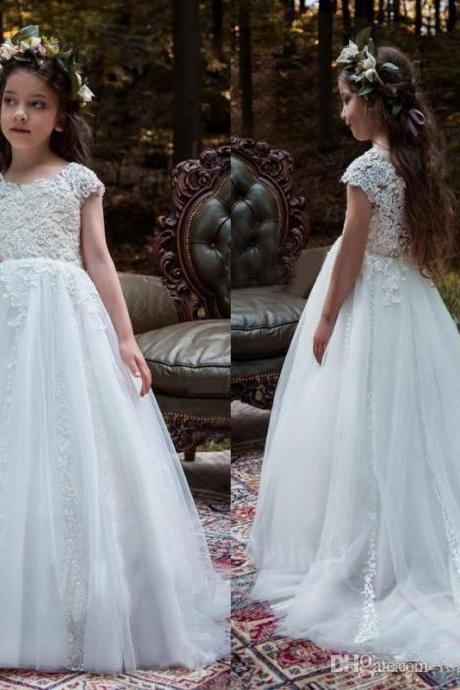 Vintage Country Flower Girl Dress Jewel Neck Capped Sleeves Lace Appliques Tulle Flowergirl Dresses Kids Formal Gown for Weddings with Train
