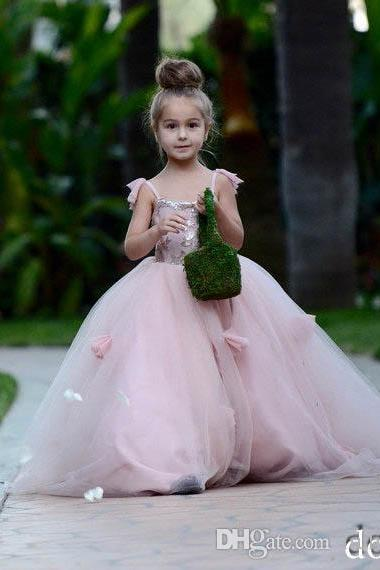Spaghetti Straps Pink Long Flower Girl Dresses New Applique Ball Gown Tulle Princess Pageant Dresses for Girls Dresses for Wedding