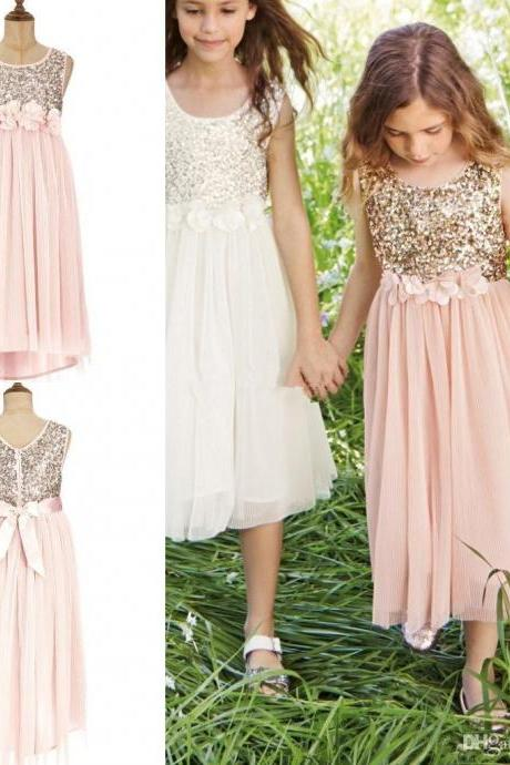Gold Sequins Blush Flower Girl Dresses A-Line Handmade Flower Bow Sash Tea Length Chiffon Girls Birthday Pageant Dresses Hot Selling