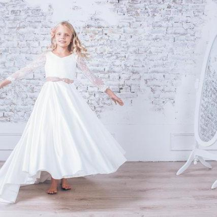 White Flower Girl Dresses for Weddings Champagne sashes Satin Baby Girl Communion Dresses Children Girl Pageant Gown
