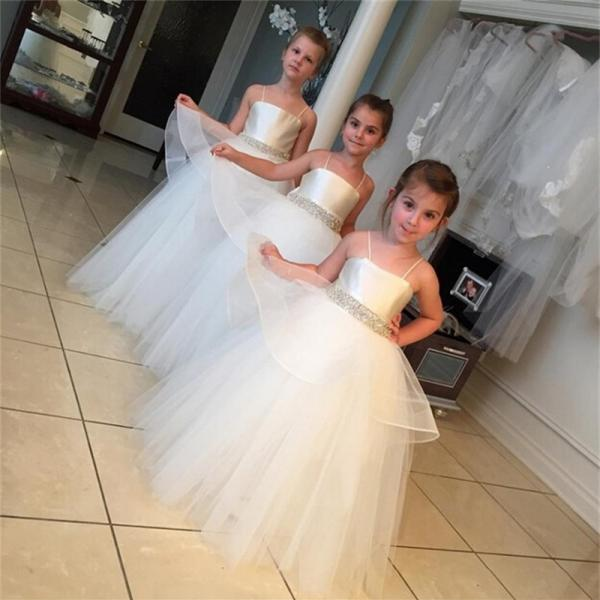 2018 Flower Girl Dresses with Spaghetti straps Ball Gown Party Pageant Dress for Little Girls KidsChildren Dress for Wedding