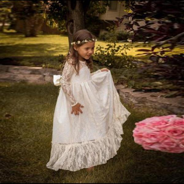 2018 New Floor Length Flower Girl Dresses with Long Sleeves Party Pageant Dress for Little Girls KidsChildren Dress for Wedding