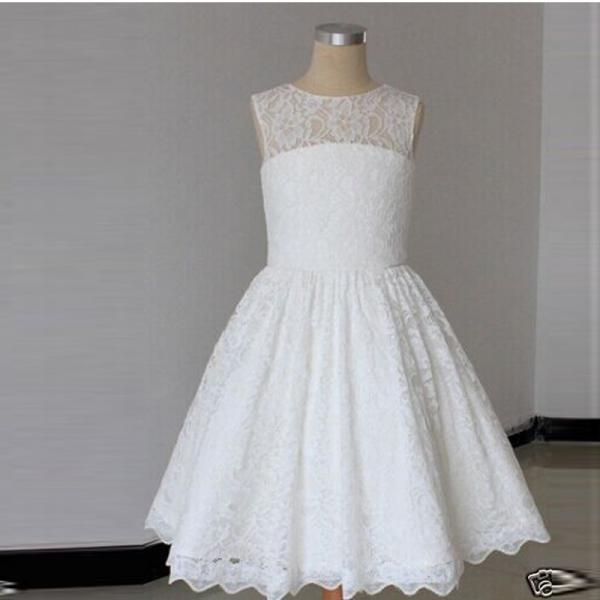 2018 New Real Lace Flower Girl Dresses with Bow Keyhole Party Pageant Dress for Little Girls KidsChildren Dress for Wedding