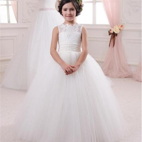 2018 New Flower Girl Dresses with Bows Keyhole Ball Gown Party Pageant Dress for Little Girls KidsChildren Dress for Wedding
