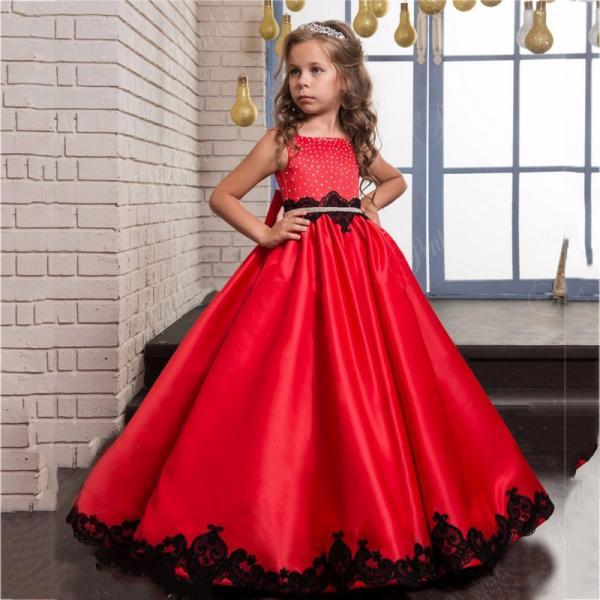 2020 Flower Girls Dresses for Weddings Appliques Girls Pageant Dress Red Children Prom Dresses Formal Party Gown Free Shipping