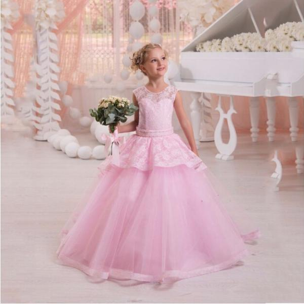 2020 Hot PinkTulle Ball Gown Flower Girl Dress Customized Lace With Beads Floor Length Little Girl Dress For Weddings Party