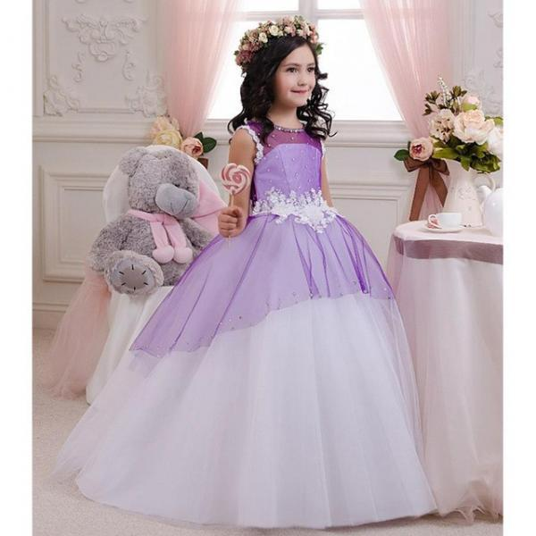 New Arrival Fluffy Purple Ball Gown First Communion Dress Scoop Neck Beads Lace Tulle Long Flower Girl Dresses Free Shipping