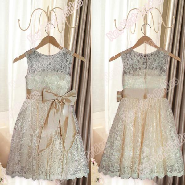 Champagne White Ivory lace Wedding Party Formal Flower Girls Dress baby Pageant dresses Custom Made Size 3 4 5 6 7 8 9 10 11 12