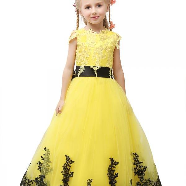 2018 Pageant Dress Little Princess Glitz Ball Gown Lace Yellow Ball Gown Cute Flower Girl Dress With Black Sash