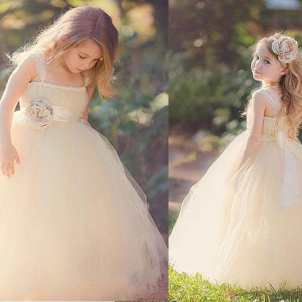 2020 Ball Gown Flower Girl Dresses Brand New Ball Party Pageant Dress for Wedding Little Girls KidsChildren Communion Dress